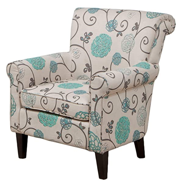 Great Deal Furniture Roseville Blue Floral Accent Lounge Chair, Decorative Club Chair in Blue Flower and Vines Pattern