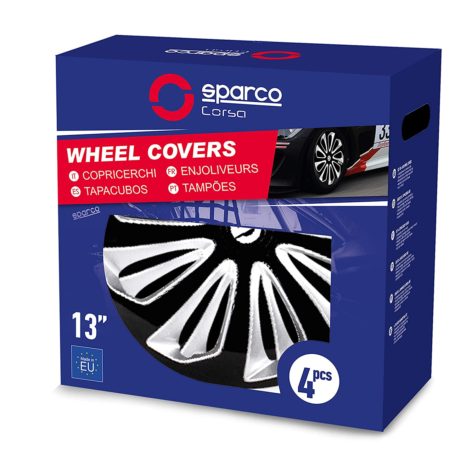 Amazon.com: Sparco SPC1673BKSV Sicilia Wheel Covers, Black/Silver, Set of 4, 16