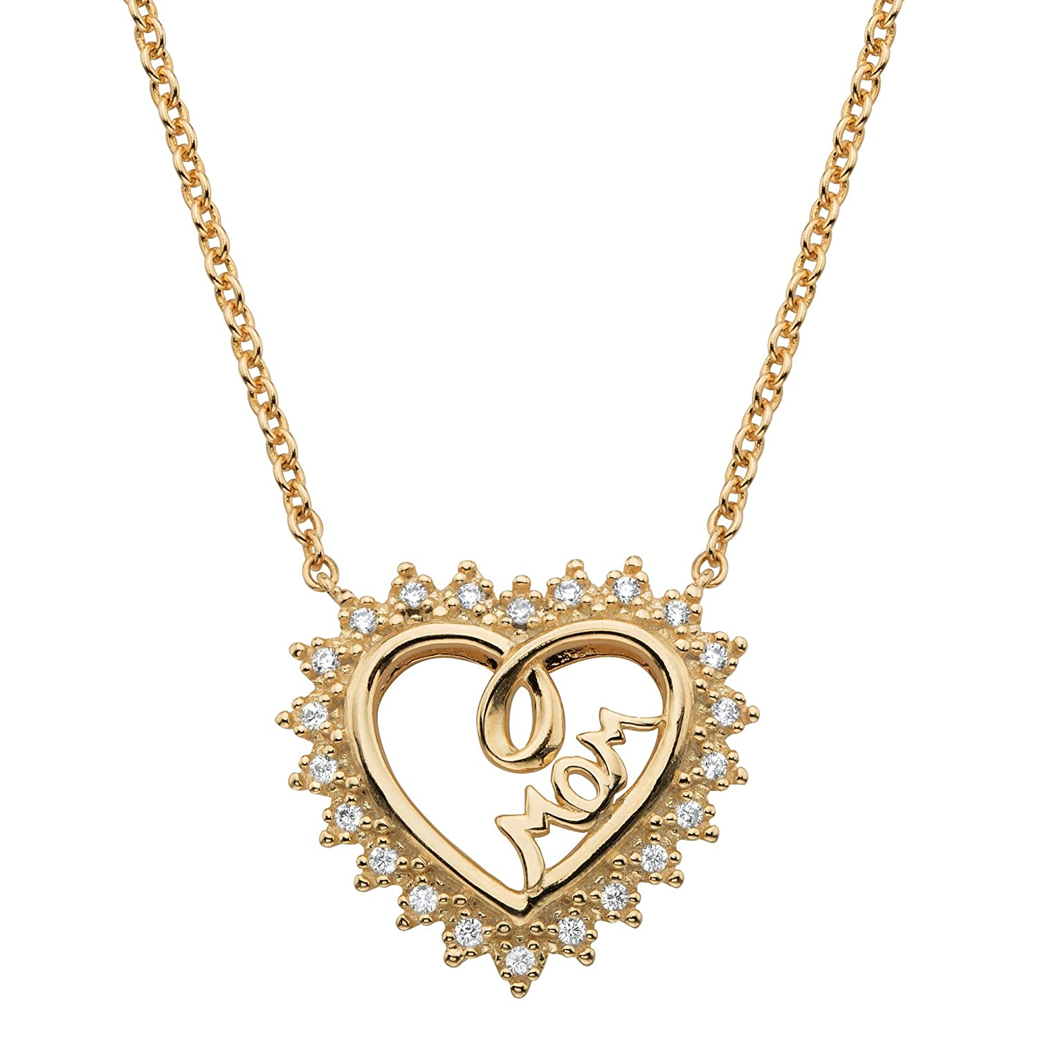 """14 Yellow Gold /""""MOM/"""" CZ Pendant Necklace"""