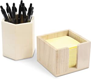 Wooden Pencil and Sticky Note Holder for Desk and Office Supplies (2 Pieces)