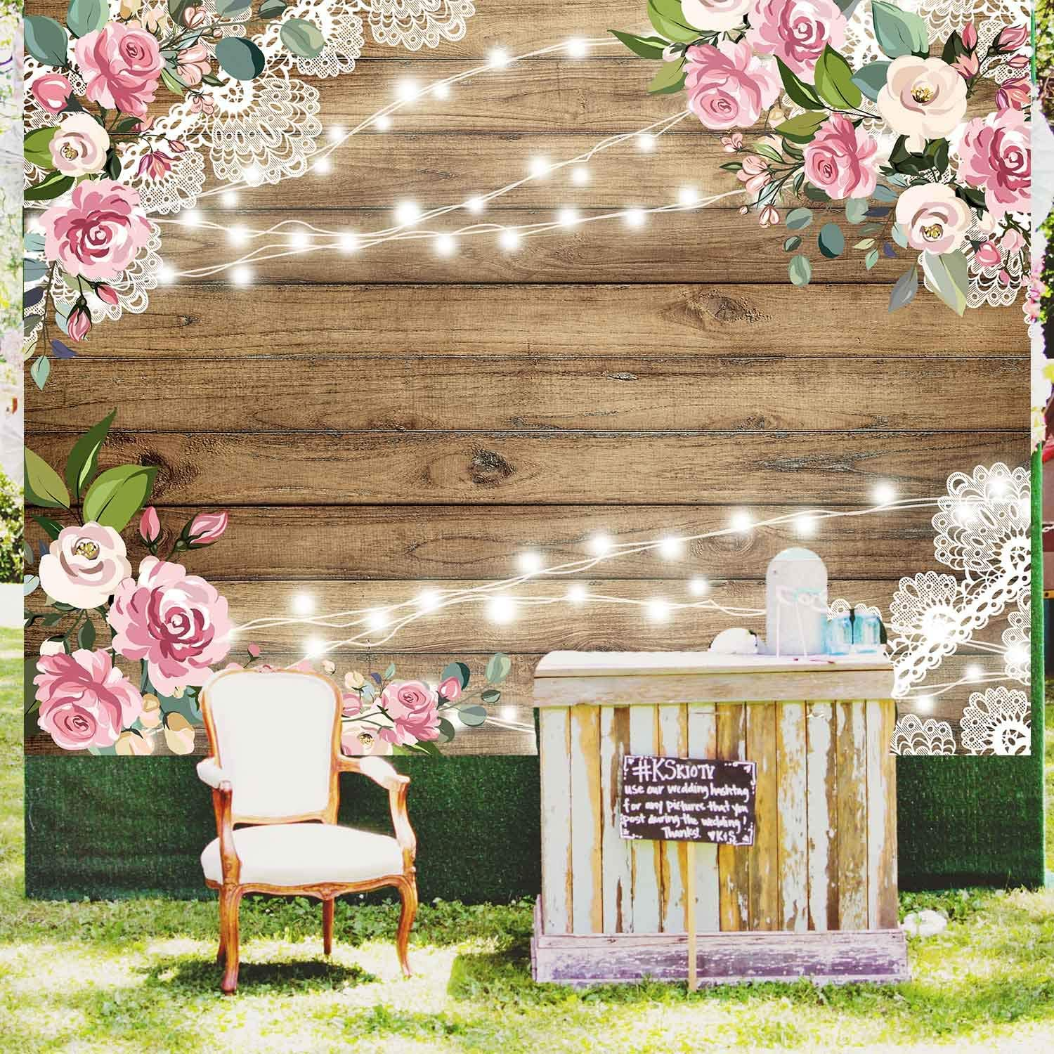 Amazon Com Wood Wedding Flowers Rustic Backdrop Floral Wooden