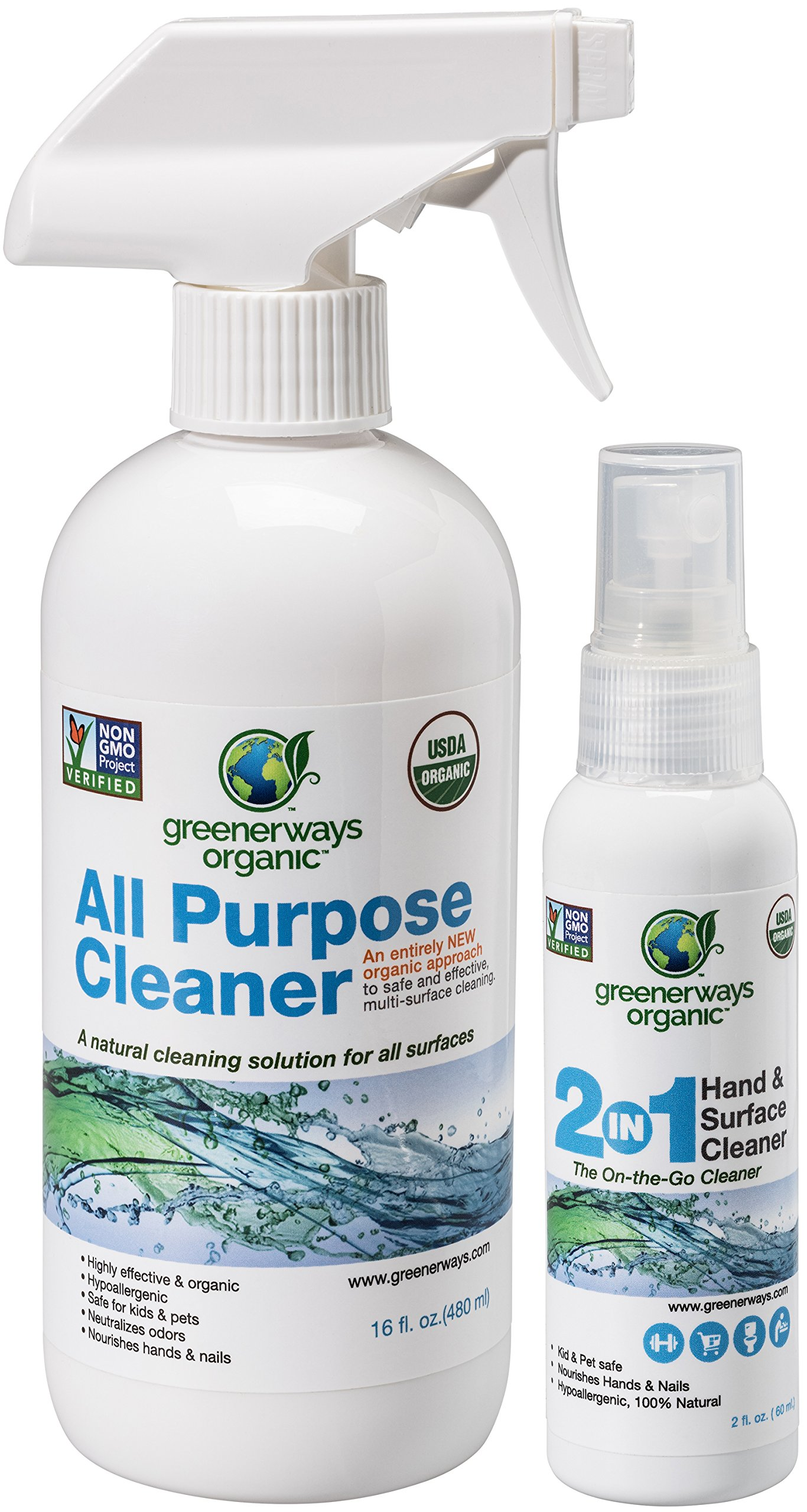 Amazon-Prime-Deals, Greenerways Organic Natural USDA Organic All Purpose Cleaner for Home, Glass, Kitchen, Bathrooms, Windows, Safe Organic Cleaner, Best Organic Cleaner (1) 16oz (1) 2oz - MSRP 17.98