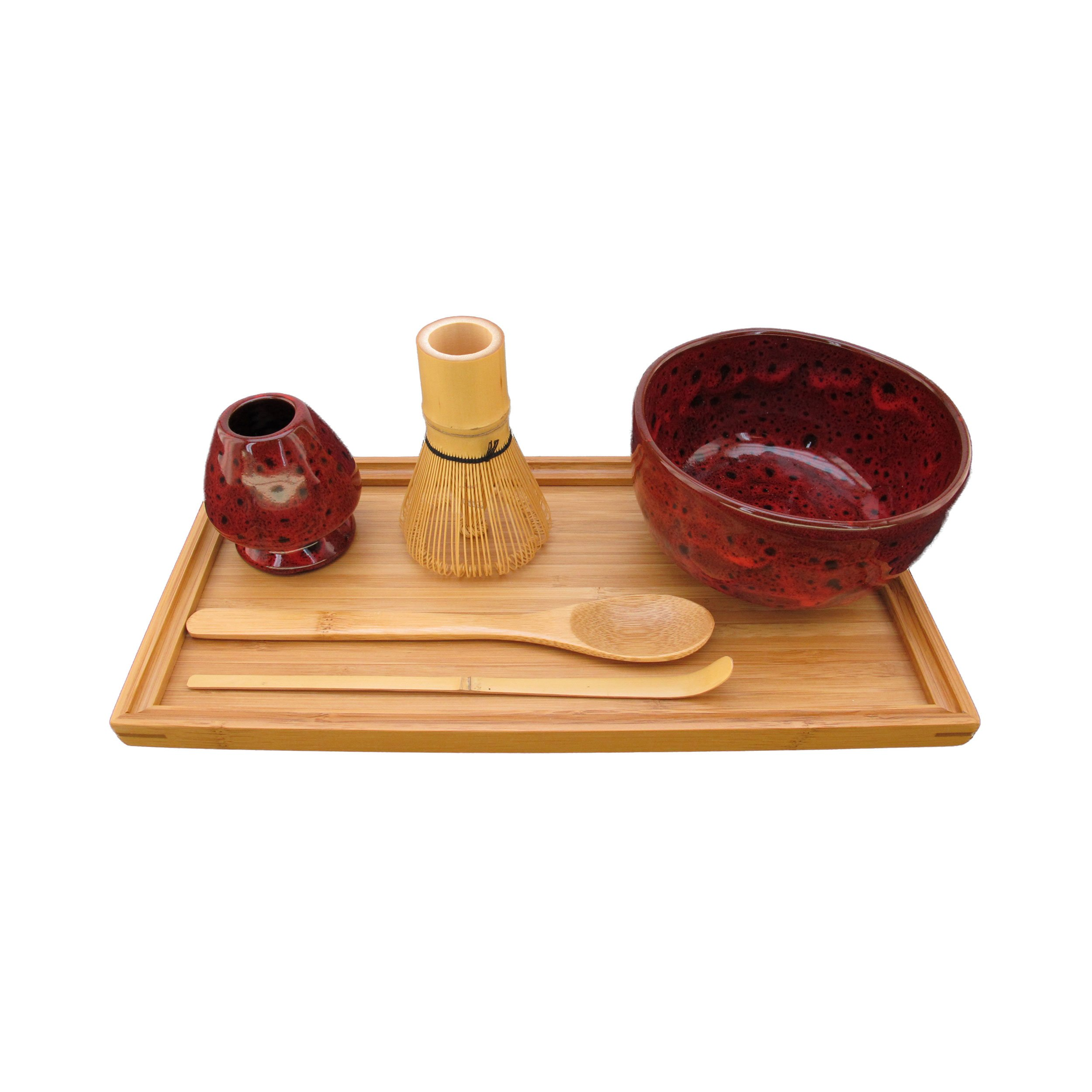 BambooMN Brand - Matcha Bowl Set (Includes Bowl, Rest,Tea Whisk, Chasaku, Tea Spoon & Tray) 1 Set Deep Red w/Black