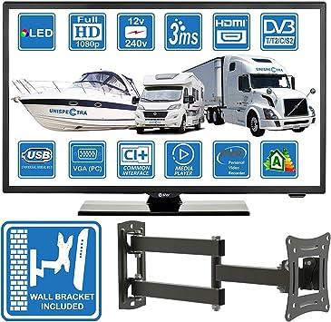 Autocaravanas Camper Barco 12 Voltios 22 Pulgada LED Full HD Digital TV DVB-T2/C/S2