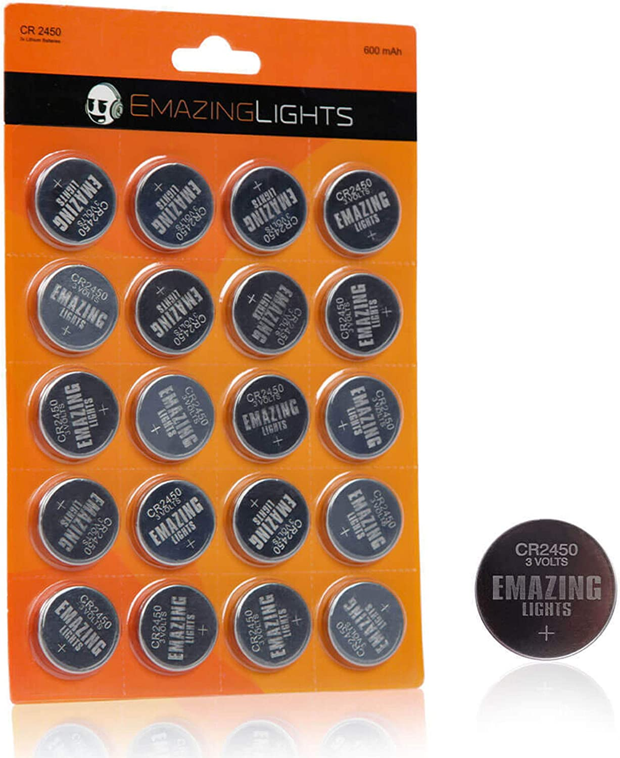 CR2450 Batteries 20 Pack 3V Lithium Button Cell Battery Pack EmazingLights: Health & Personal Care