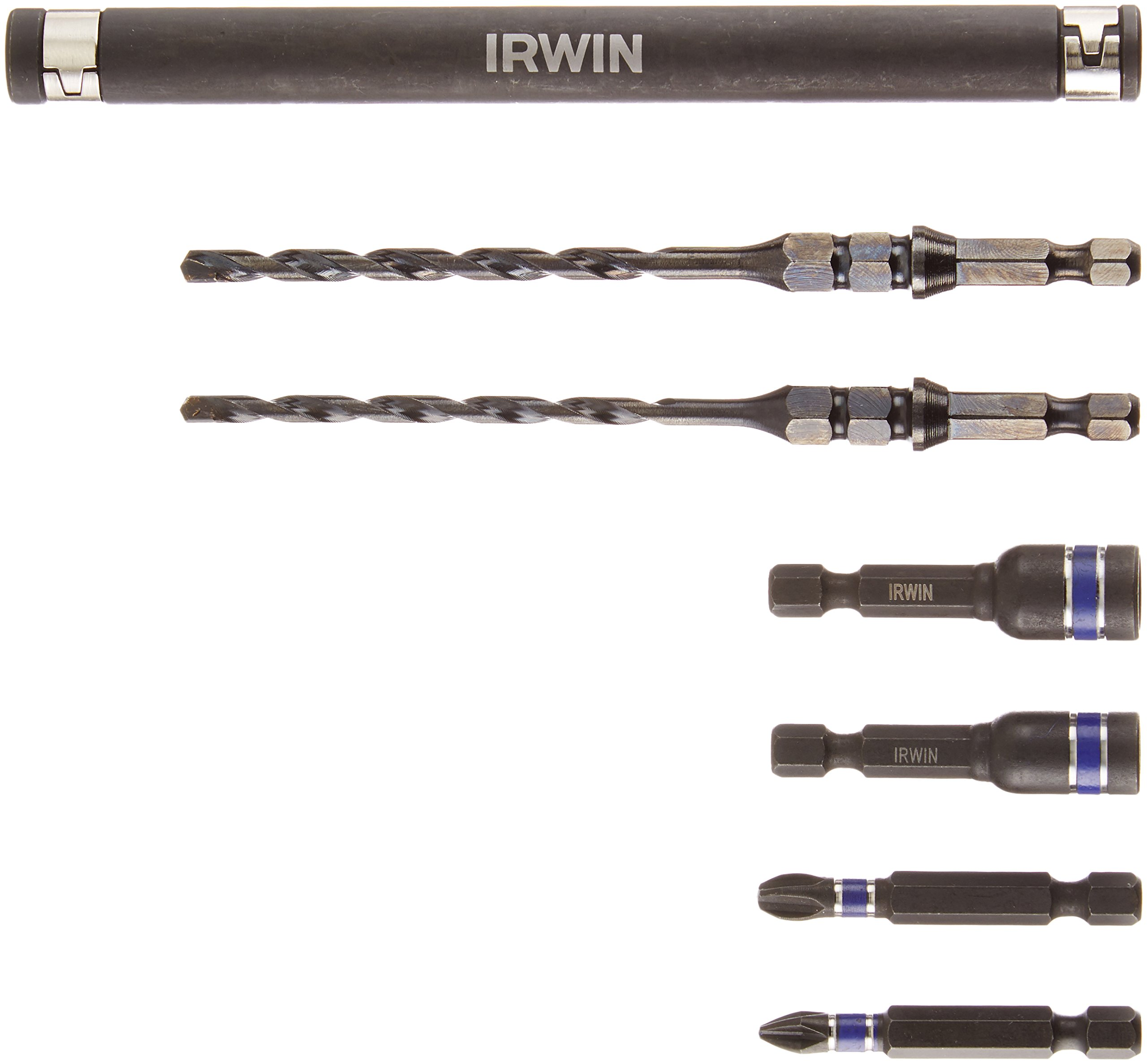 IRWIN Tools 1881080 Impact Performance Series Concrete Screw Drill-Drive Installation Set for 3/16-Inch and 1/4-Inch Screws, 7-Piece