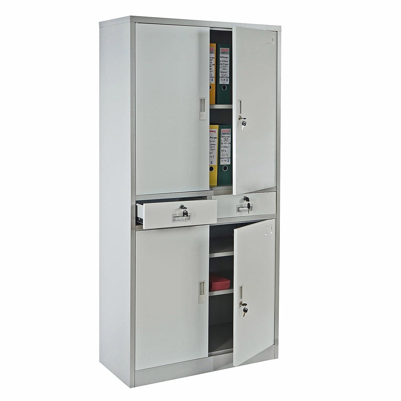 Büroschrank weiß schubladen  Aktenschrank Boston T132, Metallschrank Büroschrank, 51kg 4 Türen ...