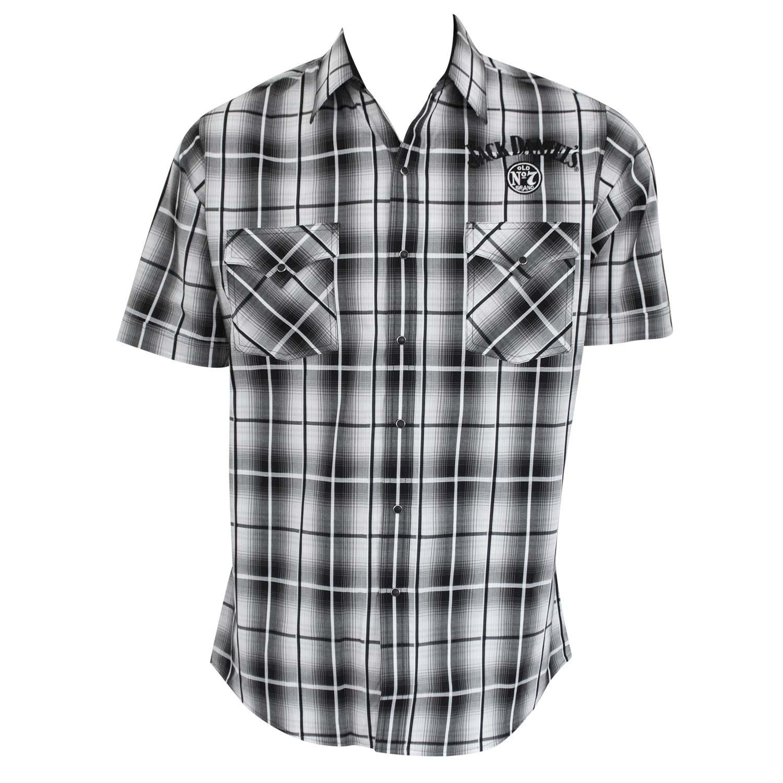99a800fdbda Jack Daniels Short Sleeve Button Down Plaid Shirt Medium  Amazon.co.uk   Clothing
