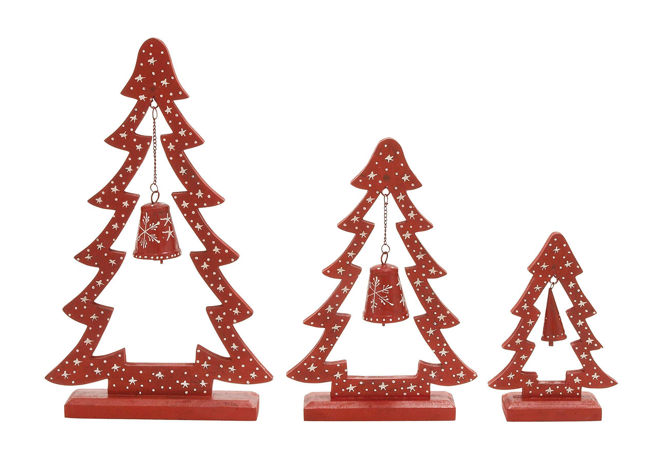 Plutus Brands Stunning Wood Metal Xmas Tree (Set of 3), 10'' by 15'' by 20''