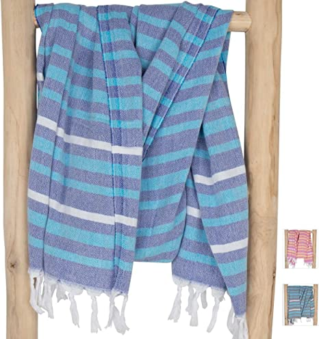 Fouta Drap de hammam XL & XXL \'Ibiza\' | très souple | serviette de plage |  100 % coton de grande qualité | modèle unique de ZusenZomer (95x180 cm, ...