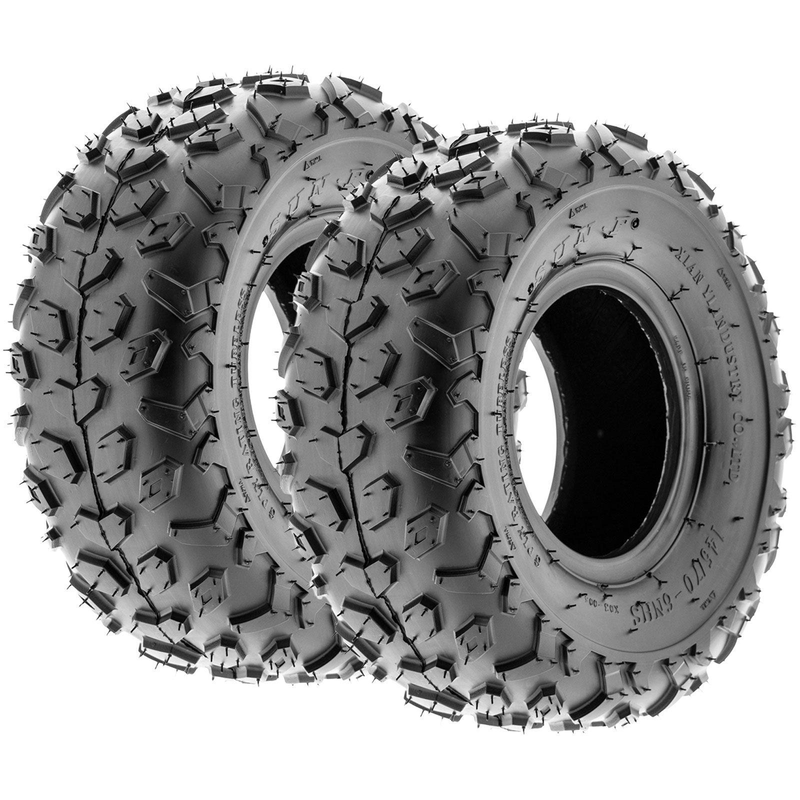 SunF A014 XC-Sport ATV & Go Kart 145/70-6 (14x6-6) Knobby Tires, 6 PR, Tubeless (Pair of 2)