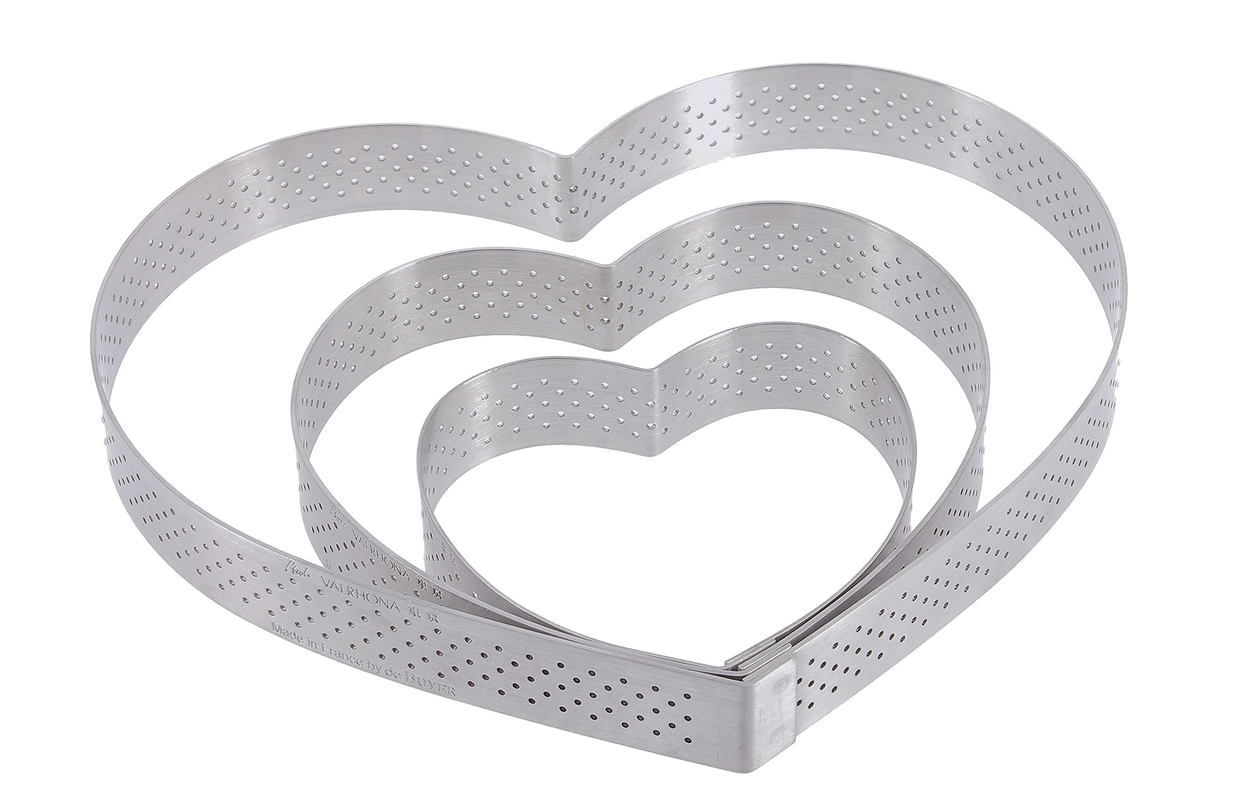 PERFORATED TART RING, Heart, in Stainless Steel, 0.75-Inch high O 7-Inch