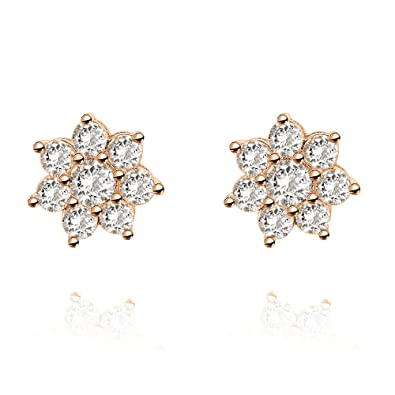 205f58d4be7 PAVOI 14K Gold Plated Sterling Silver Post Flower Halo Cluster Cubic  Zirconia Stud Earrings for Women | Gold Earrings