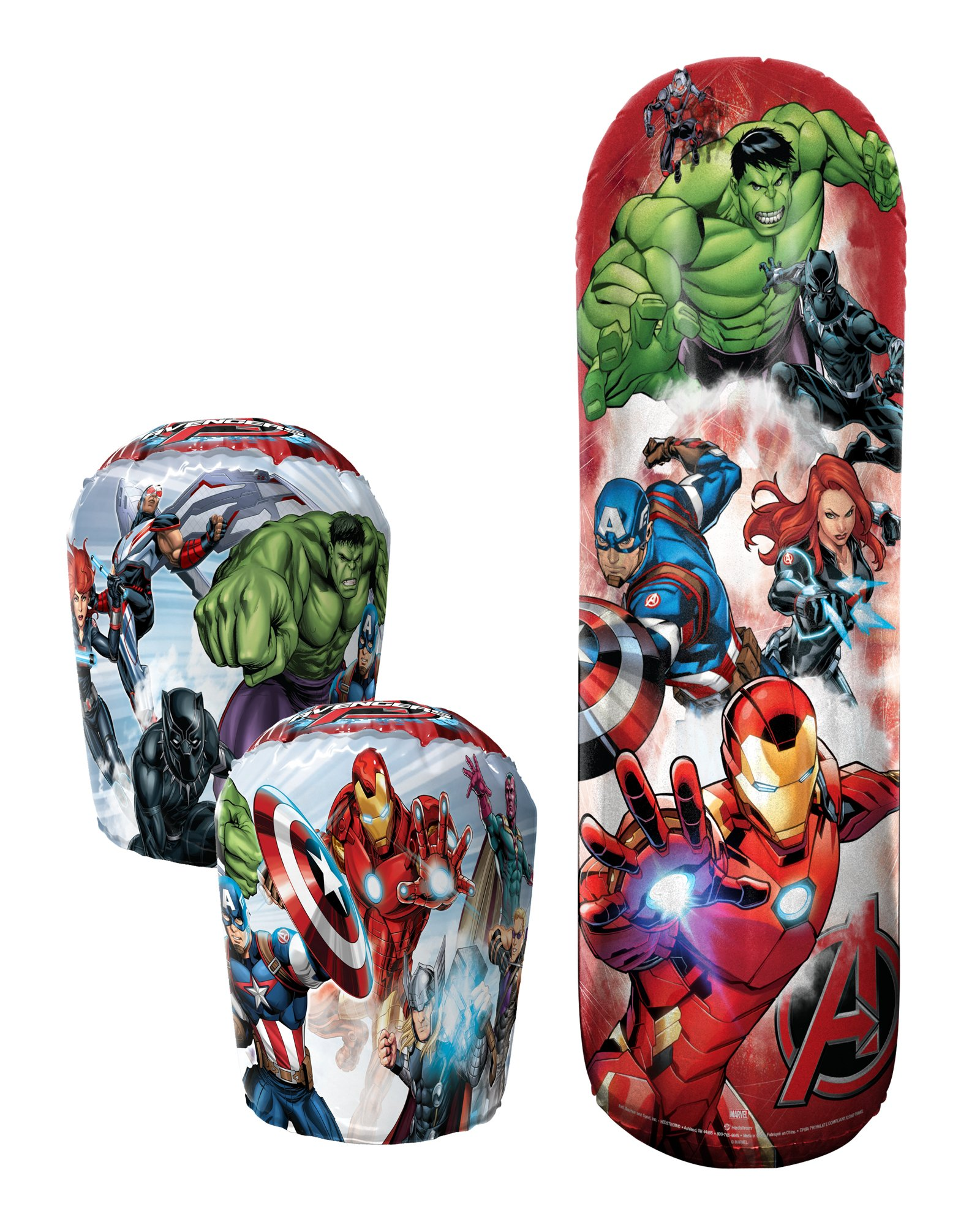 Hedstrom Avengers Bop Combo Inflatable Punching Bags and Gloves (3 Piece), Red, 36''