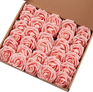 MACTING Artificial Flower Rose, Real Touch Artificial Roses for DIY Bouquets Wedding Party Baby Shower Home Decor (60pcs Light Pink)