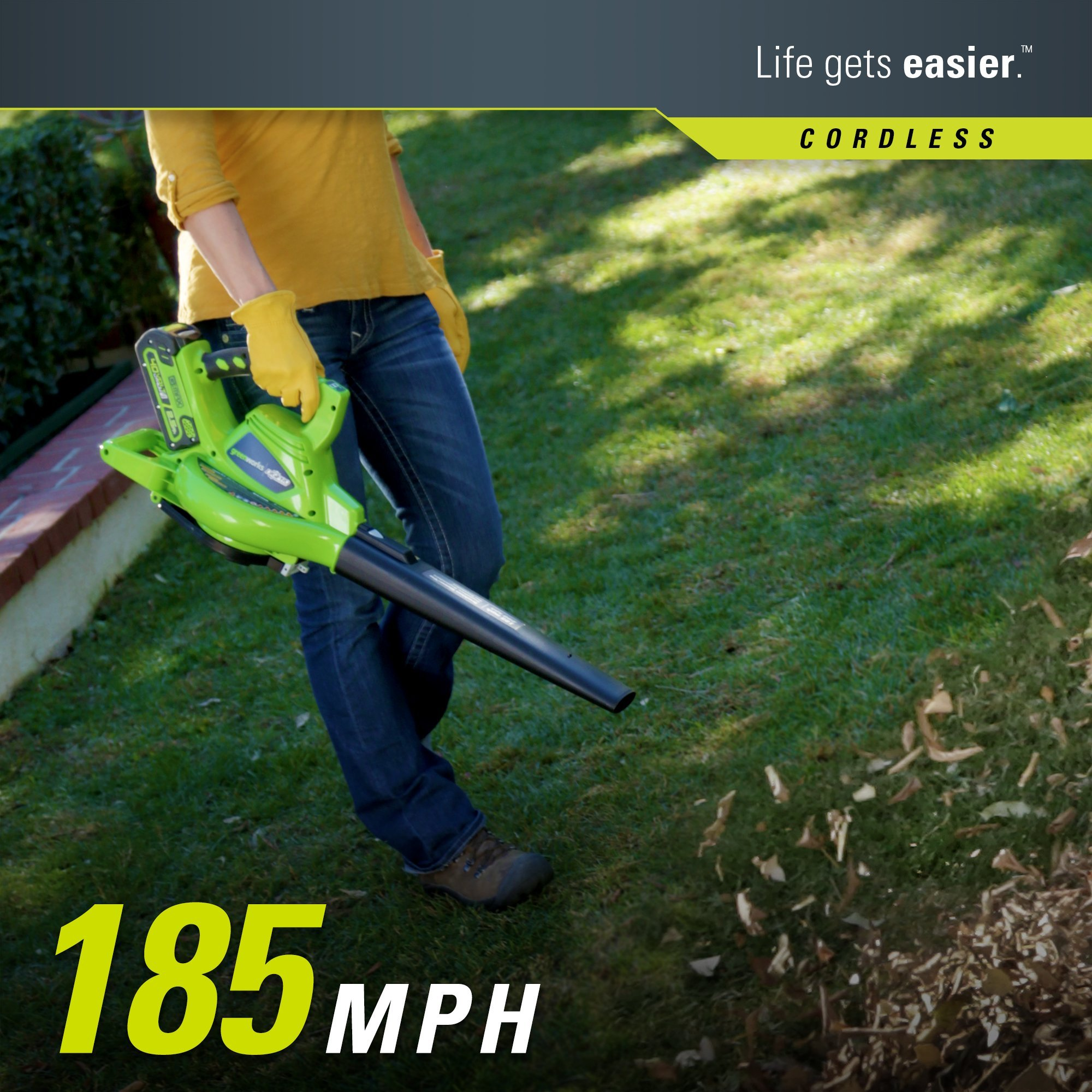 Greenworks 40V 185 MPH Variable Speed Cordless Blower Vacuum, 4.0 AH Battery Included 24322 by Greenworks (Image #4)