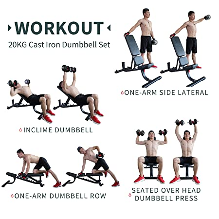 Amazon.com : PROIRON 20kg Cast Iron Adjustable Dumbbell Set Hand Weight with Solid Dumbbell Handles Changed into Barbell Handily Perfect for Bodybuilding ...