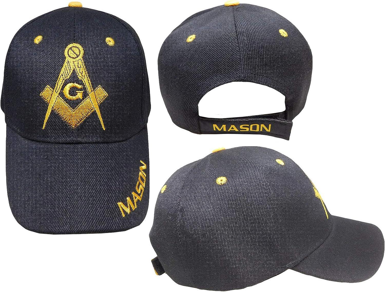 Freemason Black Embroidered Adjustable Hat Mason Masonic Lodge Baseball Cap