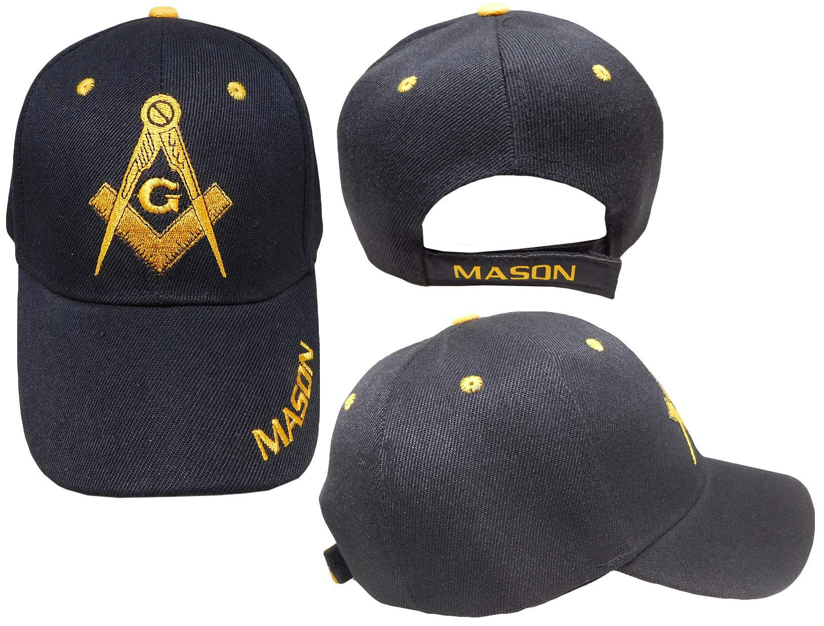 Freemason Embroidered Black Adjustable Hat Mason Masonic Lodge Baseball Cap