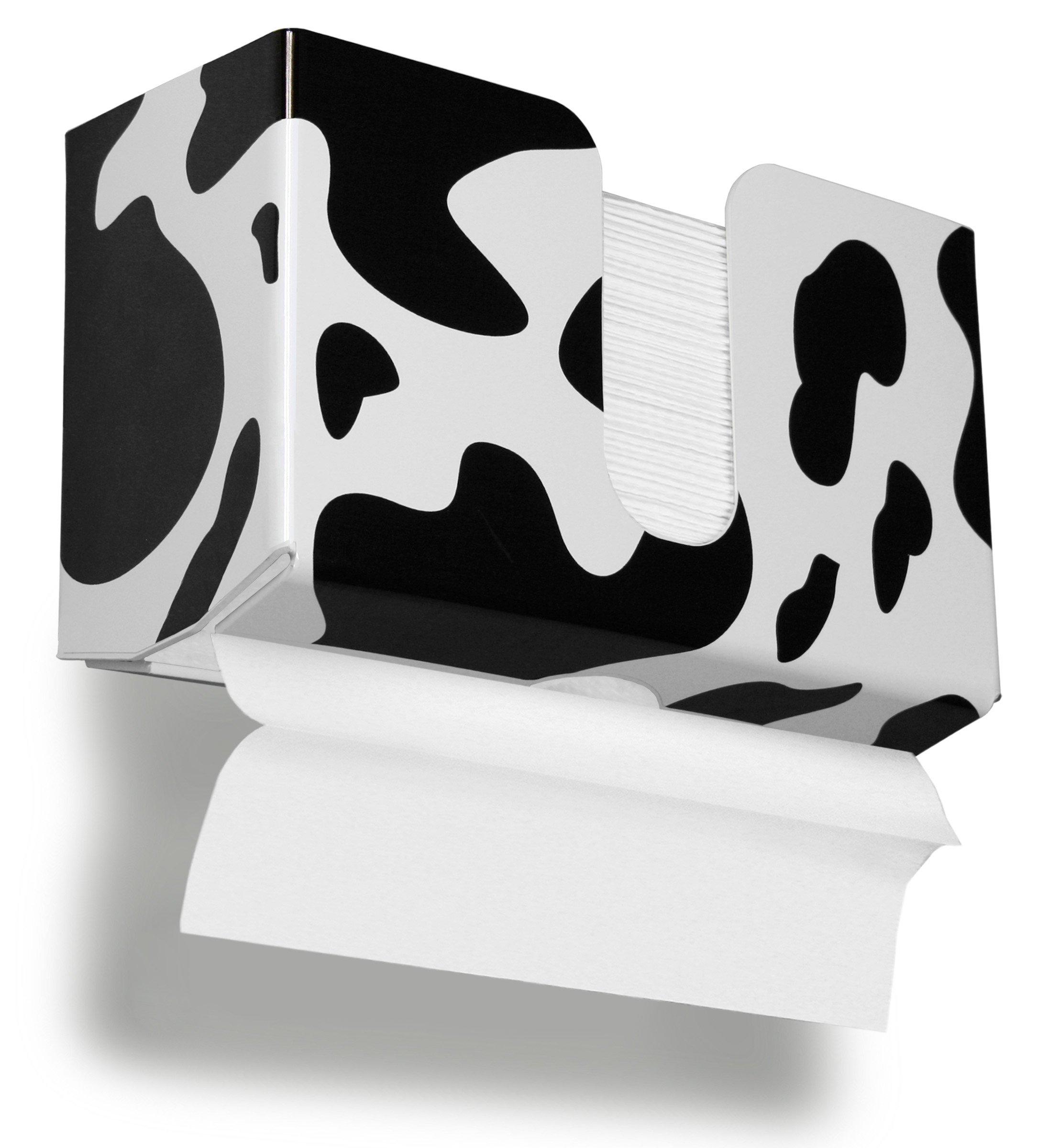 TrippNT 51341 Cow Pattern Plastic Dual Dispensing Paper Towel Holder, 10 7/8'' Width x 6 1/2'' Height x 4 ¼'' Depth
