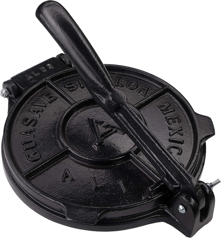 Tortilla Press 8 Inch- Black- Cast Aluminum Tortilla Maker - Heavy-Duty Taco Presser - Made In Mexico Corn Flour Tortilla Press for Homemade Mexican Food - Tortillera Para Hacer Tortillas - 2.5lbs
