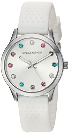 Skechers Womens Dianthus Quartz Metal and Silicone Casual Watch Color: Silver, White (Model