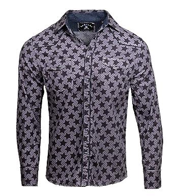 88031e0d Rock Roll n Soul Men's Long Sleeve Over-Dyed Star Print Shirt 366OD (S