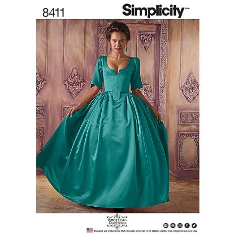 Simplicity Pattern 8411 - Disfraz de Mujer del Siglo XVIII, Papel, Color Blanco, 22,02 x 15,02 x 1,02 cm