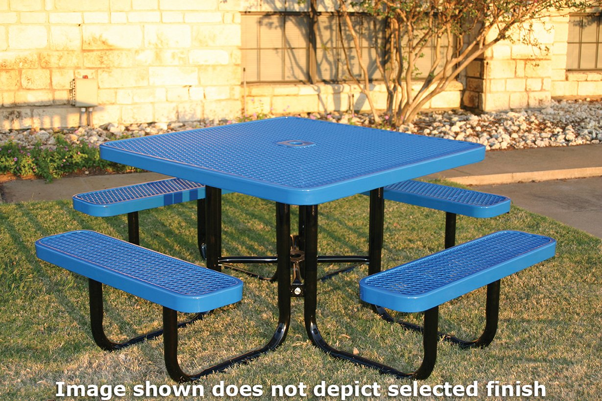 Coated Outdoor Furniture TSQ-LBL Top Square Portable Picnic Table, 46-inch, Light Blue