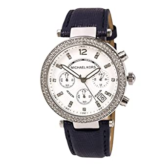312c32def889 Image Unavailable. Image not available for. Color  Michael Kors Watch  MK2293 Parker Navy Leather Strap 39mm