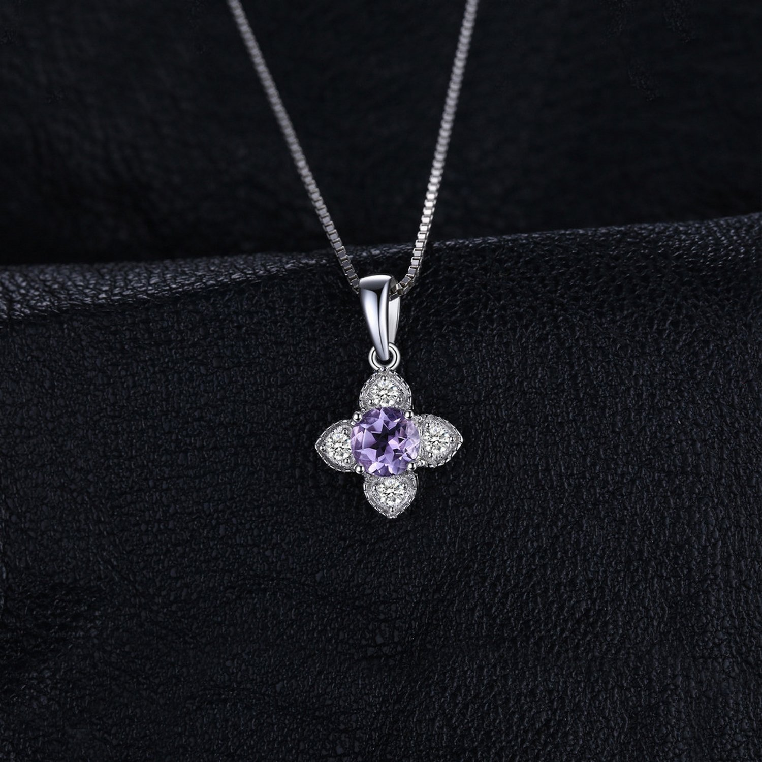 CS-DB Jewelry Silver 0.7ct Round Amethyst Choker Chain Charm Pendants Necklaces