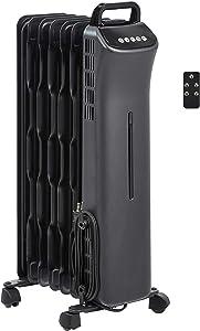 AmazonBasics Portable Digital Radiator Heater with 7 Wavy Fins and Remote Control, Black, 1500W