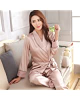 Michael Stevenson Elegant Women Night Suit Long Sleeve Full Length Pants Pijama Verano Mujer V Neck