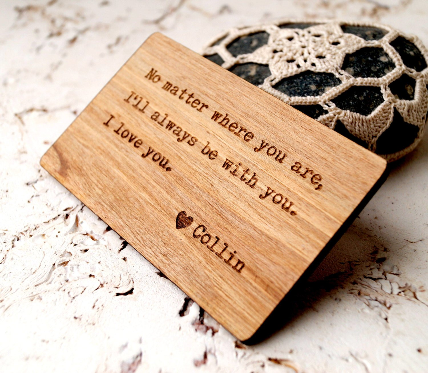Amazon Walnut Wood Wallet Insert Card Personalized 5th