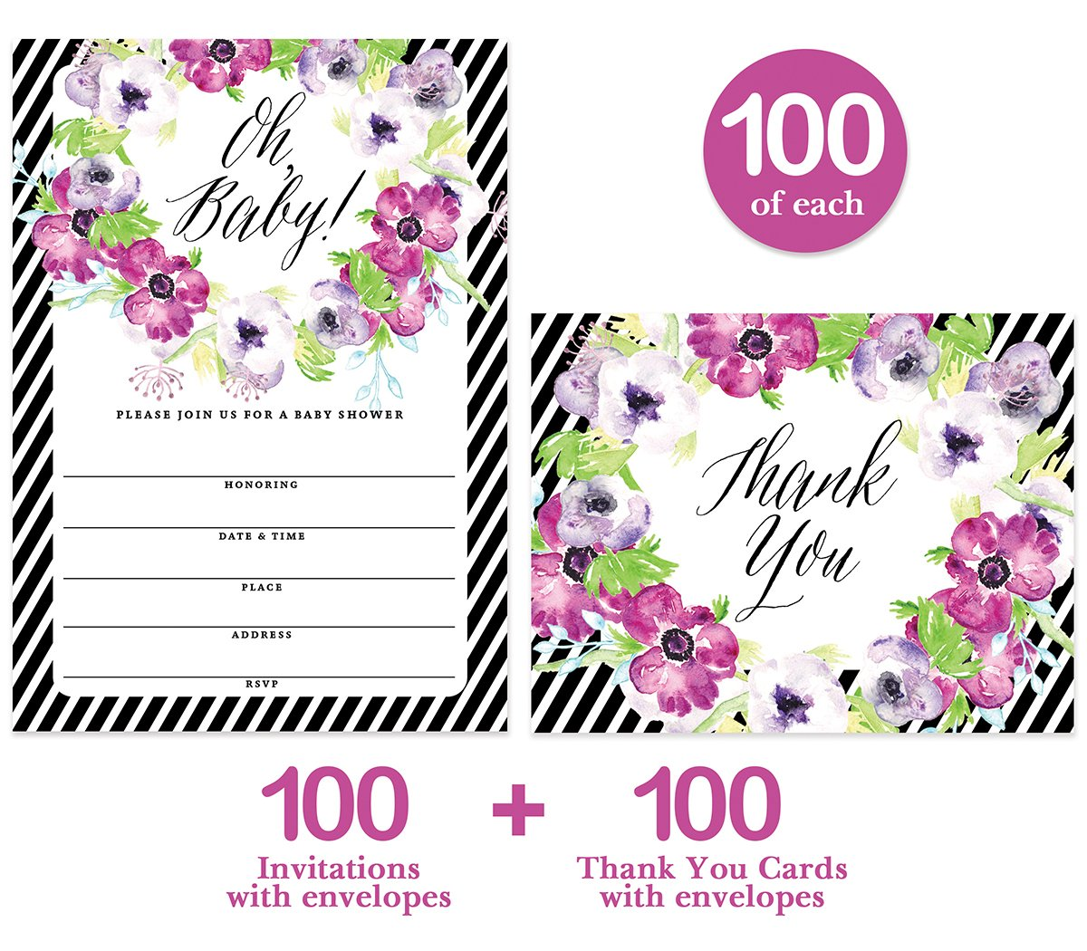 Baby Shower Invitations ( 100 ) & Matching Thank You Cards ( 100 ), Envelopes Included, Large Gathering Mom-to-Be Party Boy Girl Neutral Fill-in Guest Invites & Folded Thank You Notes Best Value Set by Digibuddha (Image #2)
