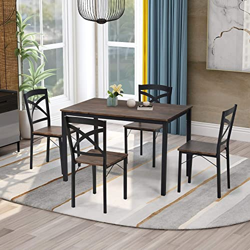 5-Piece Industrial Wooden Dining Table Set