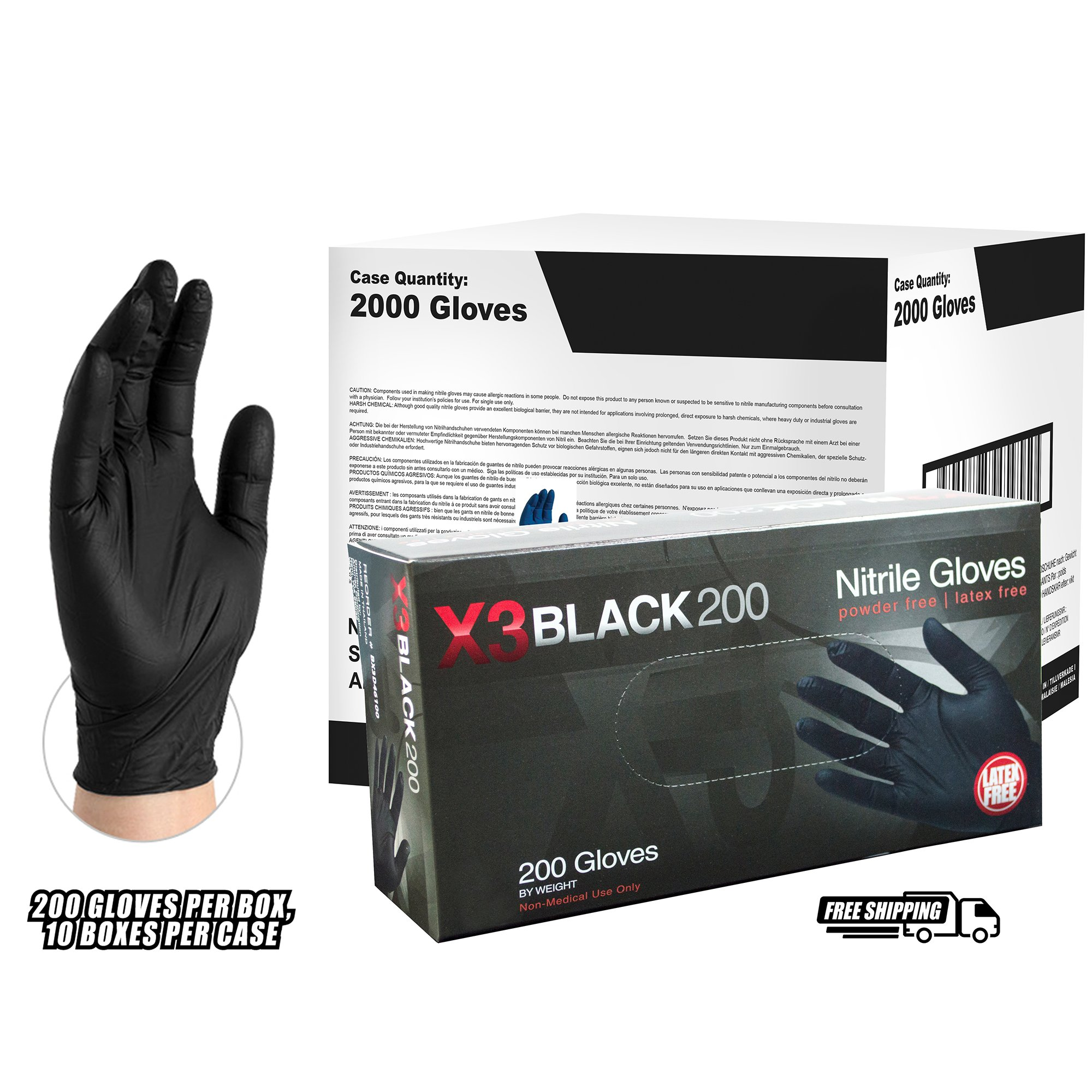 AMMEX - BX3D42100 - Nitrile Gloves - Disposable, Powder Free, Latex Free, 3 mil, Food Safe, Small, Black (Case of 2000)