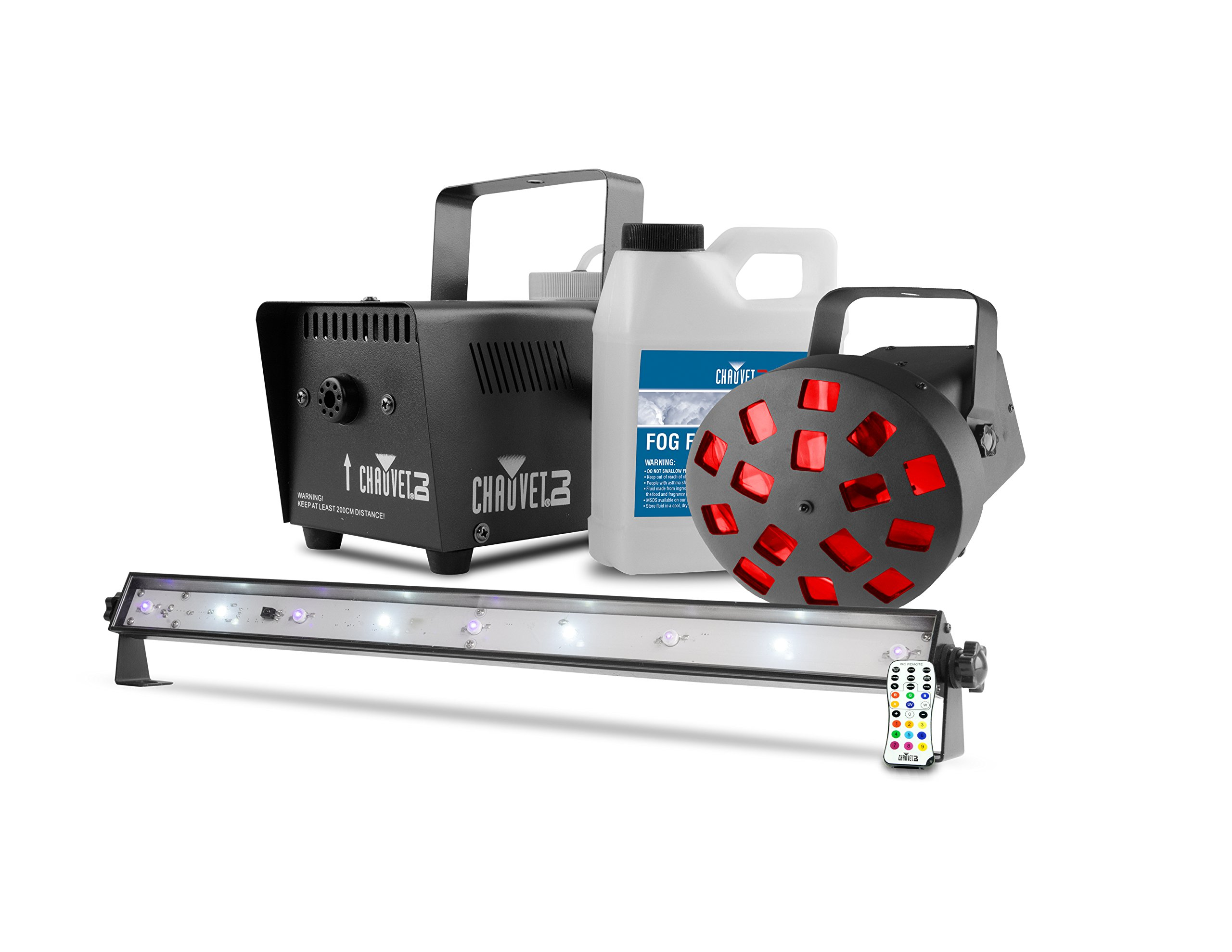 CHAUVET DJ JAM Pack Diamond - UV Wash/Strobe Combo Light & Mushroom w/Fog Machine & Fog Machine Fluid by CHAUVET DJ