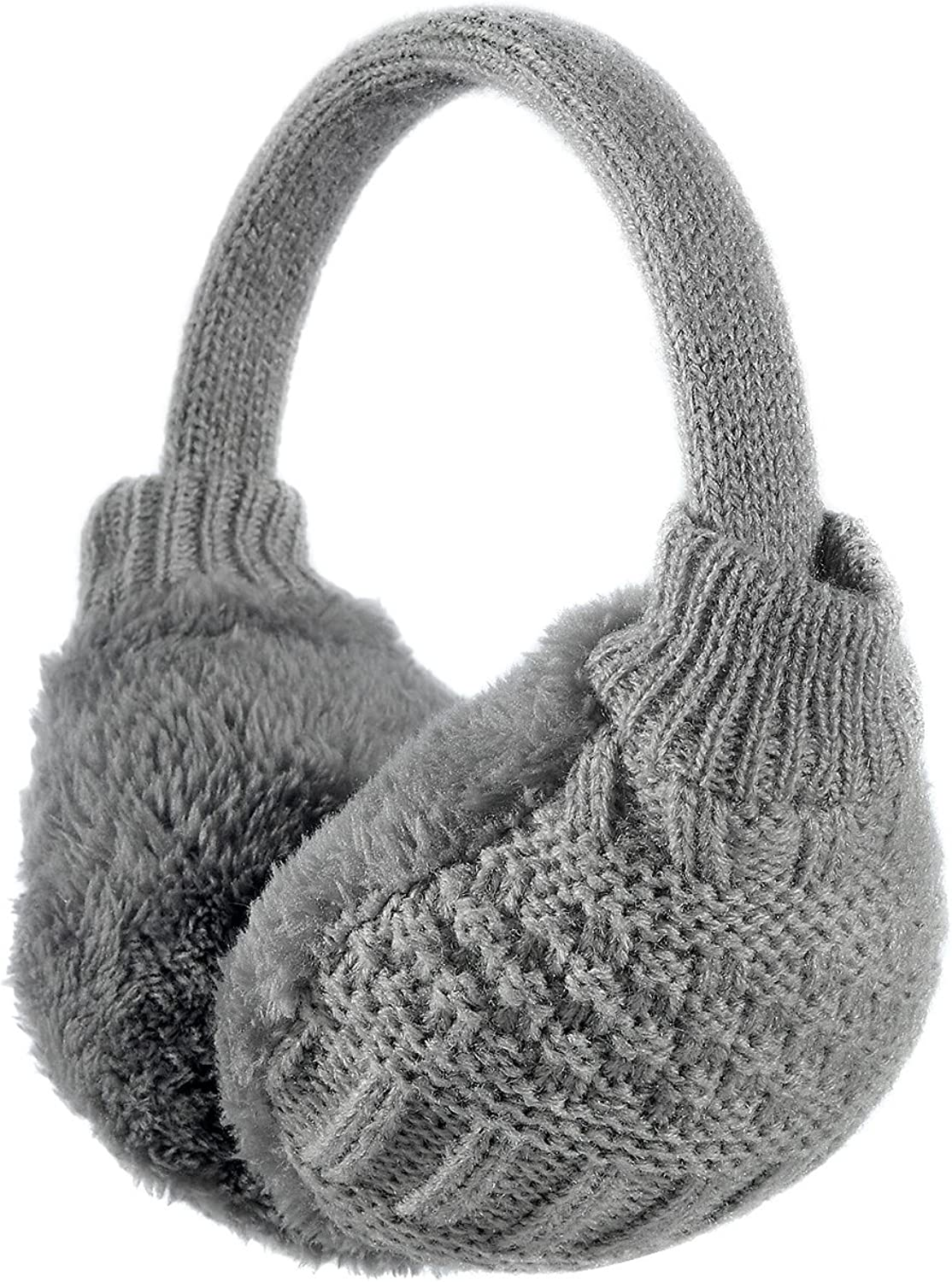 Sudawave Womens Winter Adjustable Knitted Ear Muffs With Faux Furry Outdoor Ear warmers