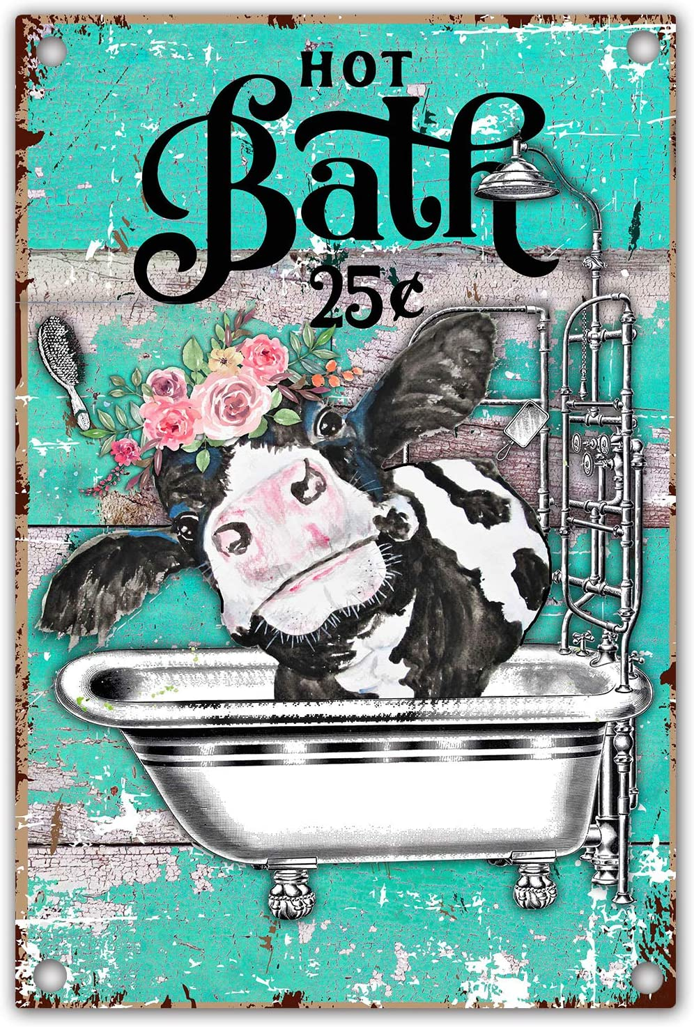 vizuzi Funny Bathroom Quote Metal Tin Sign Wall Decor, Vintage Cow Tin Sign for Office/Home/Classroom Bathroom Decor Gifts - Best Farmhouse Decor Gift Ideas for Friends