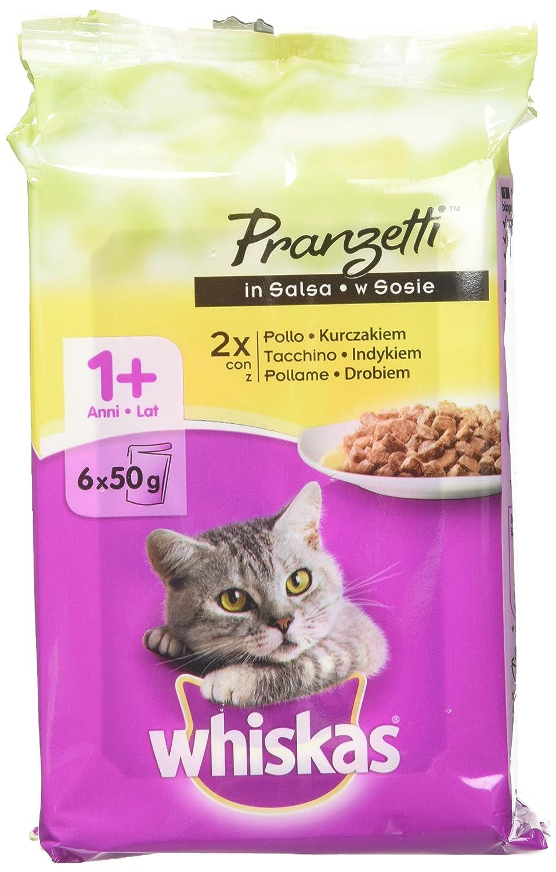 Comida para gatos Whiskas, carnes blancas: 12 paquetes de 6 unidades de 50 g [72 piezas, 3600 g]: Amazon.es: Productos para mascotas