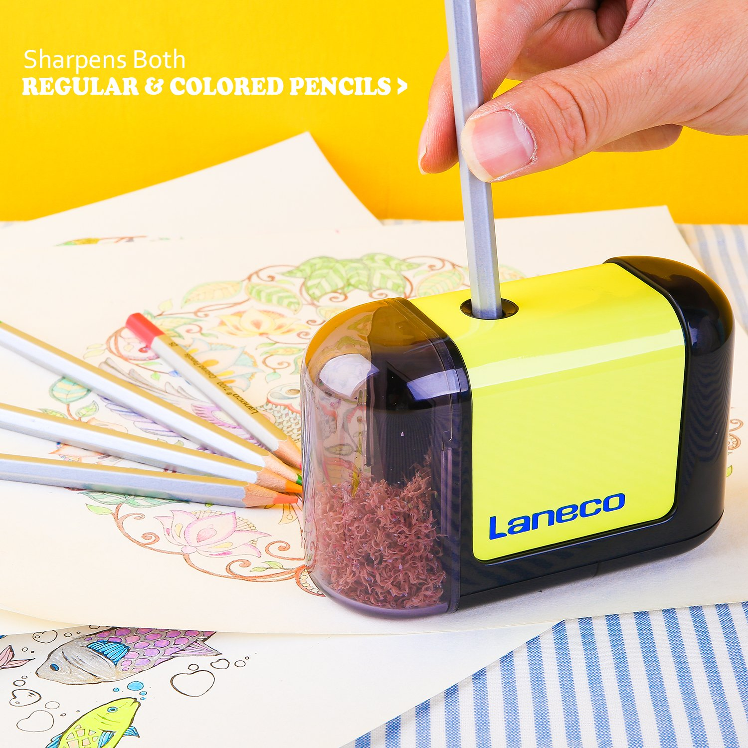 Battery Operated Electric pencil sharpener, Laneco Heavy Duty Helical Blade Pencil Sharpener for Classroom, Office, School, Kids, Teachers, Artists and Adults by Laneco (Image #8)