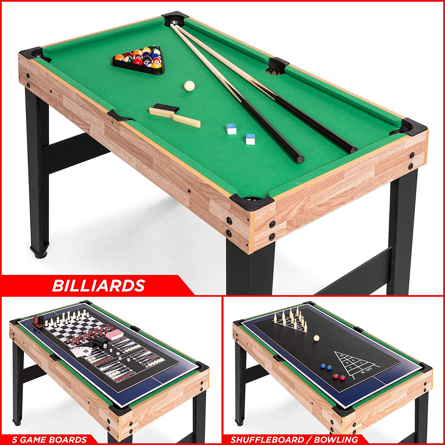 Best Choice Products 2x4ft 10-in-1 Combo Game Table Set