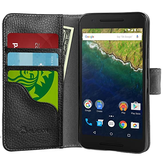 innovative design 37b6e cb2d4 Nexus 6P Case, i-BlasonSlim Leather Wallet Book Cover with Stand Feature  and Credit Card ID Holders for Google Nexus 6P 2015