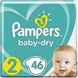 Pampers Baby-Dry Windeln Größe2 (4–8kg), Luftkanäle für atmungsaktive Trockenheit, bewährte Trockenheit für Ihr Baby, Sparpack, 1er Pack (1 x 46 Stück)