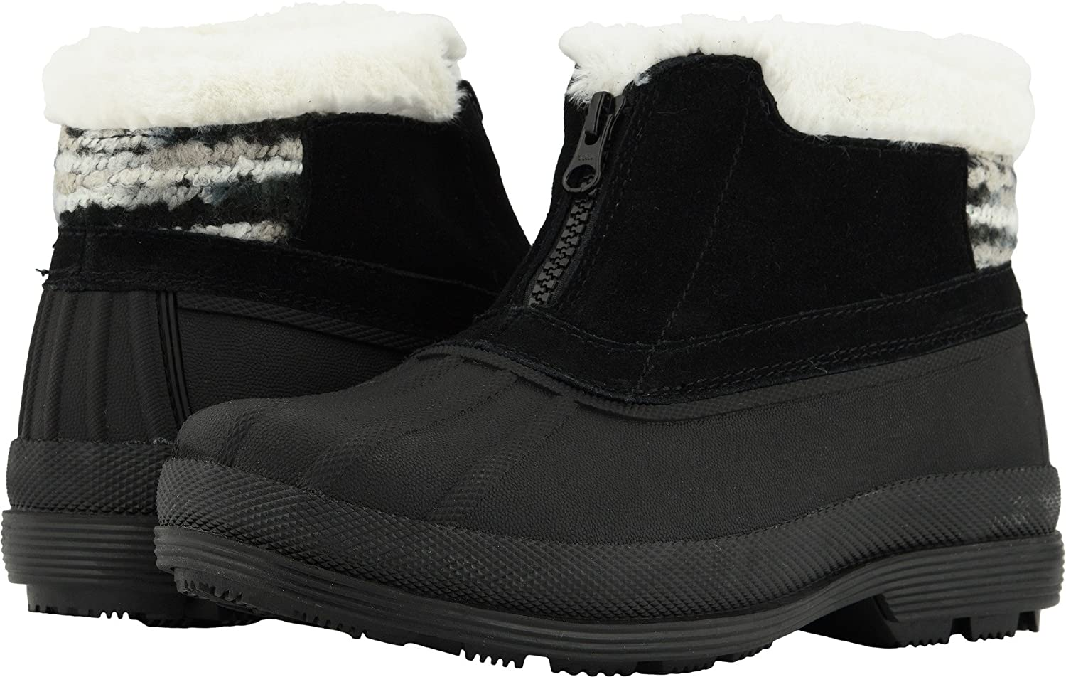 Propet Women's Lumi Ankle Zip Snow Boot B078YP9NSG 10 WIDE Wide US|Black/White