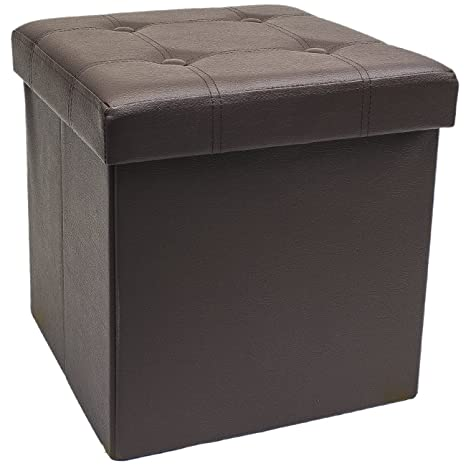 Admirable Sorbus Faux Leather Folding Storage Ottoman Cube Foot Rest Stool Seat Chocolate Forskolin Free Trial Chair Design Images Forskolin Free Trialorg