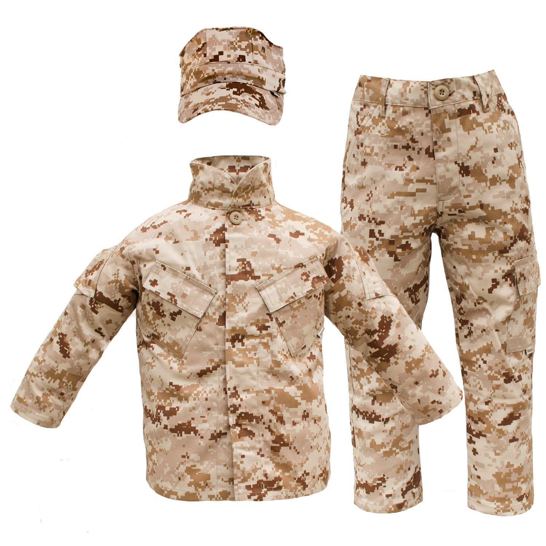 Trendy Apparel Shop Kid's US Soldier Digital Camouflage Uniform 3pc Set Costume Cap, Jacket, Pants - Desert - M