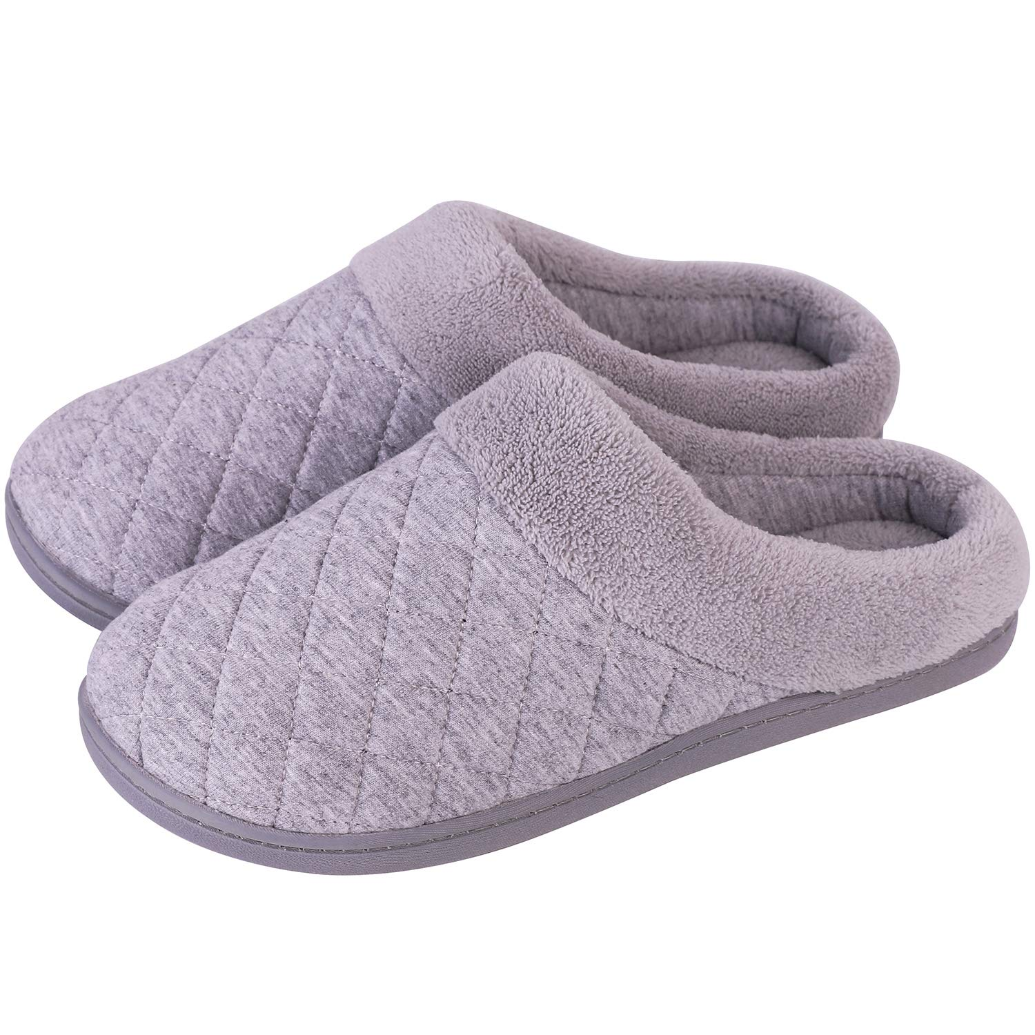 Men's and Women's Comfort Quilted Memory Foam Fleece Lining House Slippers Slip On Clog House Shoes