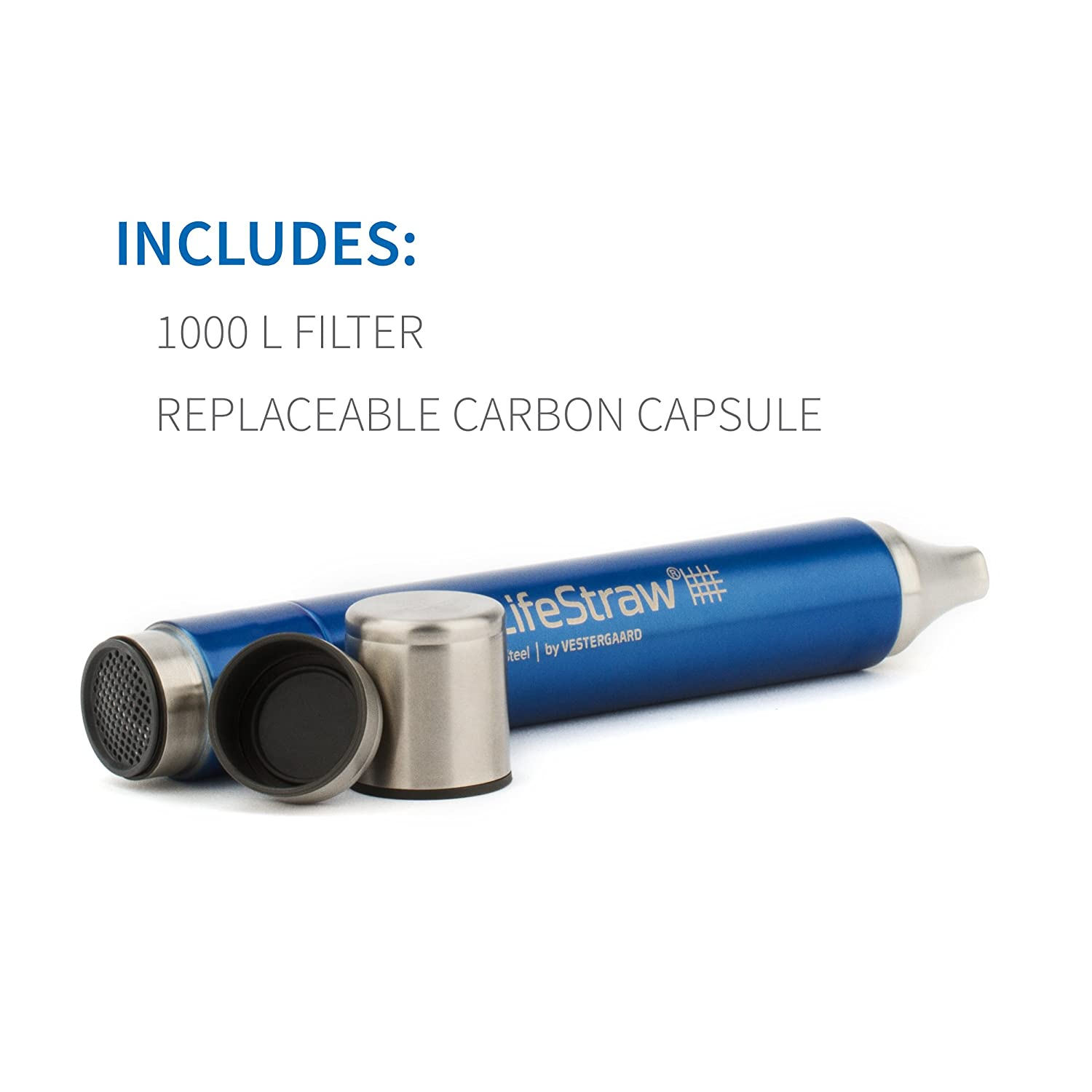 LifeStraw Steel Personal Water Filter with 2 Stage Carbon Filtration for Hiking Camping Travel and Emergency Preparedness